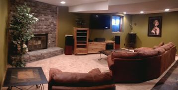 Basement Family Room with playstation games
