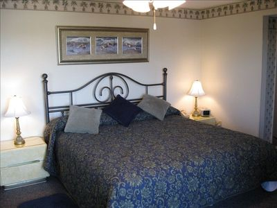 Master bedroom with King bed and separate bathroom