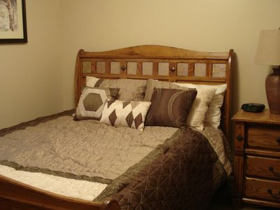 Bedroom one with a Queen size sleigh bed