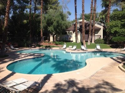 Las Vegas townhome rental - Community pool available to guests.