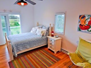Oak Bluffs cottage photo - Bedroom #1 - Master Suite Features Queen Bed, Full Bath, Private Deck. First Floor