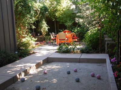 Enjoy a game of bocce ball in the quiet afternoon.