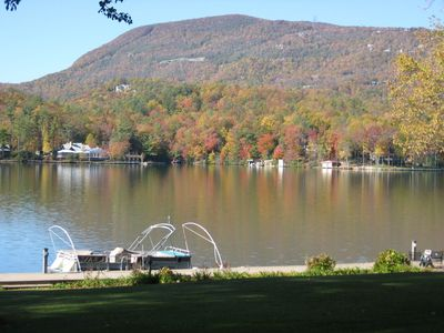 Fall View on Lake Toxaway of Toxaway Mountain