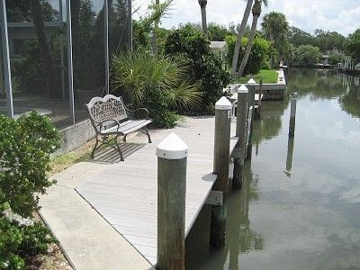 Longboat Key house rental - Boat dock on deep water canal. With electricity.