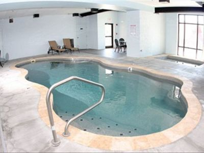 Indoor pool right across from main entrance to cabin.