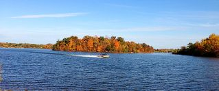 Shakopee cottage photo - Speedboat zipping by the island