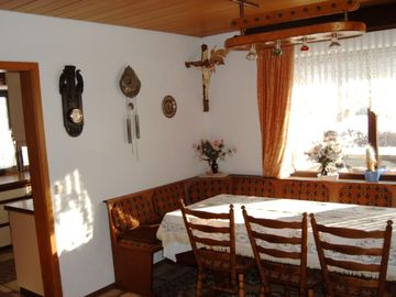 Dining room with view of the kitchen