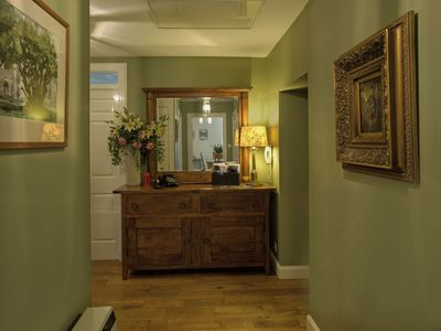 Lovely hallway in the Balfour Apartment with real oak flooring