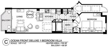 Floor Plan - Heated Area: 705 SF - Balcony:65 SF