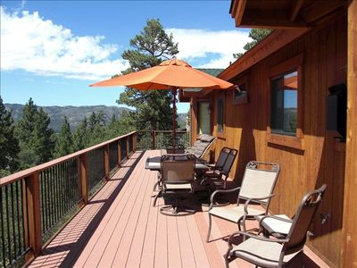 Top level back deck with beautiful mountain views