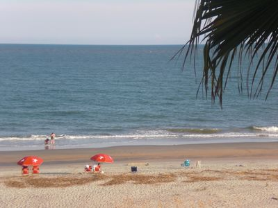 6 mns. walk within resort to lovely beach. We have beach chairs/Umbrellas/toys.