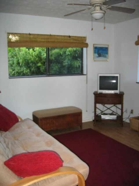 Spacious 9 x 12 den with deluxe futon and cable TV