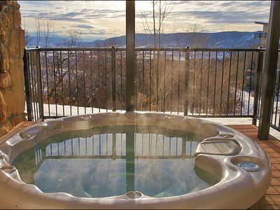 Hot Tub with Sunset Views right downstairs