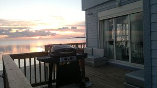 Governor's Harbour villa photo - The Cool House's deck with gas grill and sunset view