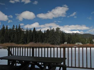 West Yellowstone house photo - Winter view from the deck, looking toward Lionshead Mtn. Great place for a BBQ!