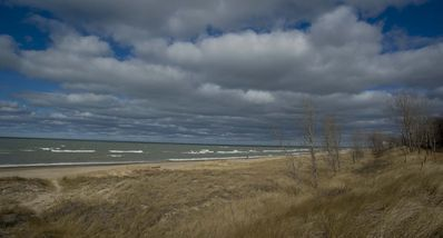 Sunny early spring windy day.View towards Michigan City, IN.