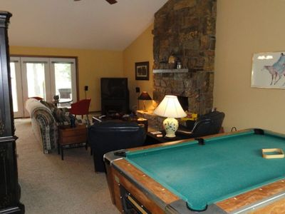 Great Living Area with Pool Table and Fireplace!