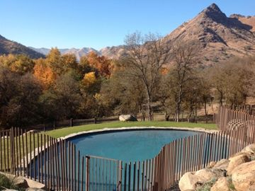 Three Rivers estate rental - View from pool to valley