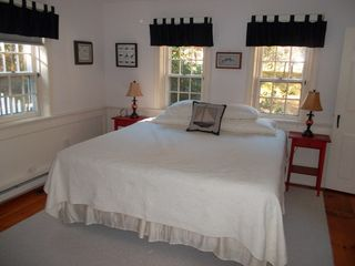Truro house photo - 1st Floor bedroom, King size bed with private half bathroom.