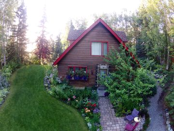 Chugiak cottage rental - Bird's eye view of cottage's front yard