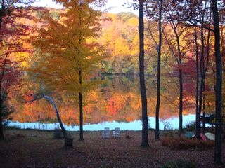 Becket house photo - relax by the lake during the fall