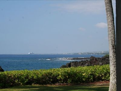 You can see the cruise ship from your oceanfront lanai; paradise awaits you!