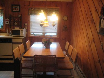 The large kitchen table with seating for 8.