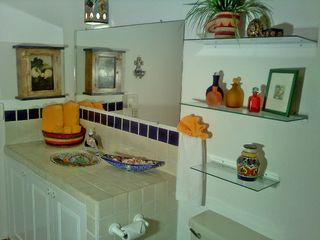 Puerto Vallarta condo photo - Vanity in each bathroom with classic hand painted tiles & bowls