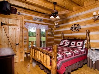 Wears Valley cabin photo - Private Bedroom Main Entry Level w Queen Log Bed