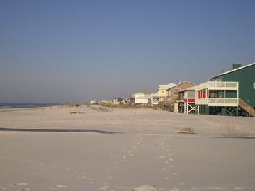 Uncrowded sugar white sand beach directly across street from Mim's Whim.