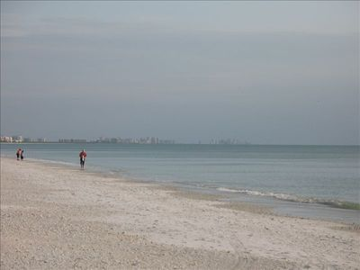 Looking south on the beach toward Naples