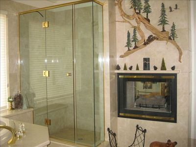 Master bath with jacuzzi tub and gas fireplace
