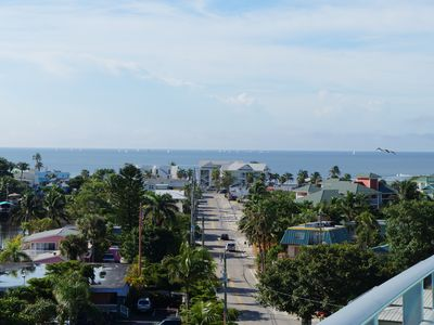 View coming over the bridge to Ft Myers Beach & Times Square.