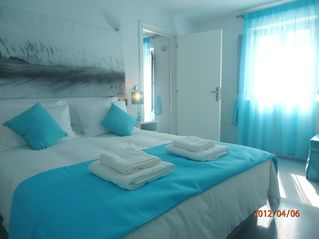 Thira (Fira) villa photo - 1st floor's bedroom with queen size bed