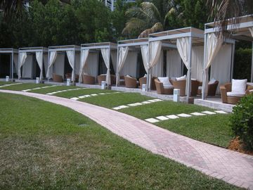 Private cabañas for entertaining or just to hang out.