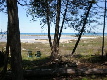 Picture of beach from back of cabin