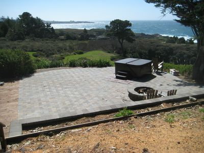 Mendocino house rental - View from the hot tub, fire pit area. Not bad!