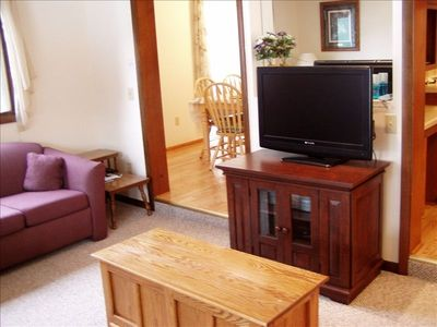 Family room tv, vcr, dvd player.  We have over 200 movies for your pleasure.