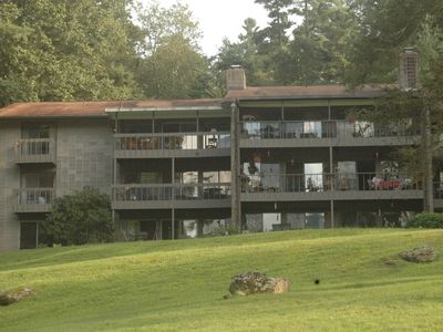 View from Lake Fairfield; our unit is on the 2nd floor, on far left