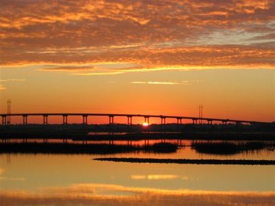 Emerald Isle Bridge Fall Sunrise