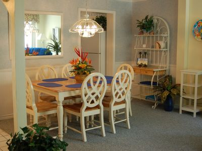Dining Table for 6, French Doors to Patio, Garden View