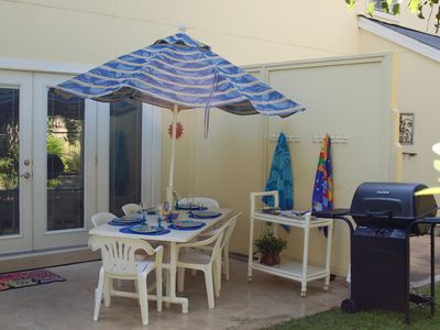 Private Pattio and Garden with Gas Grill, Table with Umbrella seats 6