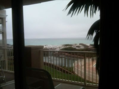 View of Gulf and dune lake from master bedroom balcony.
