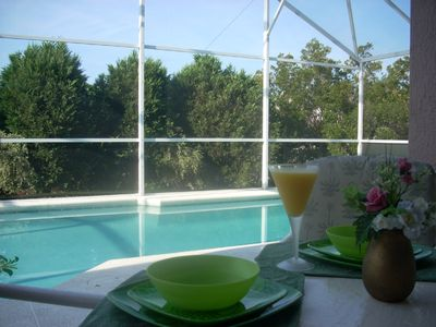 Enjoy breakfast in the lanai with view of the pool