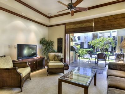 View of Lanai accross the living area. Ground Floor makes easy access for all!