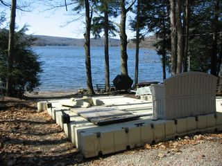 Lake Wallenpaupack house photo - New dock on shore(winter)Table & BBQ at waterfront
