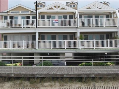 Boardwalk condo rental - External view from beach with specific top floor condo boxed out.