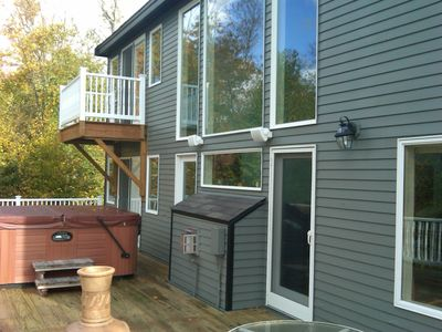 View of the rear deck - 45 X 15 feet, with the 7-person hot tub.