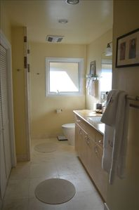 Here is the bright, sunny master bathroom with plenty of closet space, too.