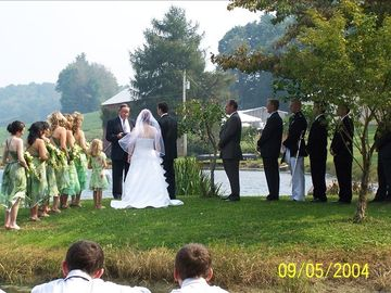 We have even hosted weddings on the island in the pond.